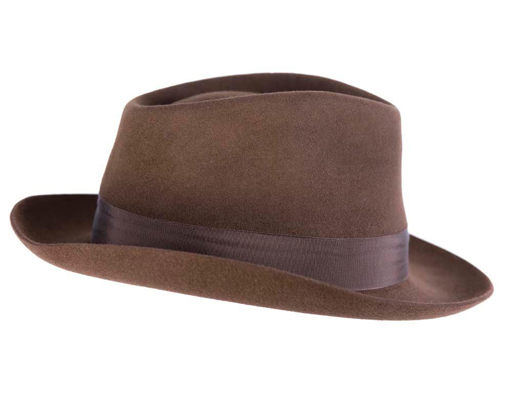 Brown unisex rabbit fur fedora hat