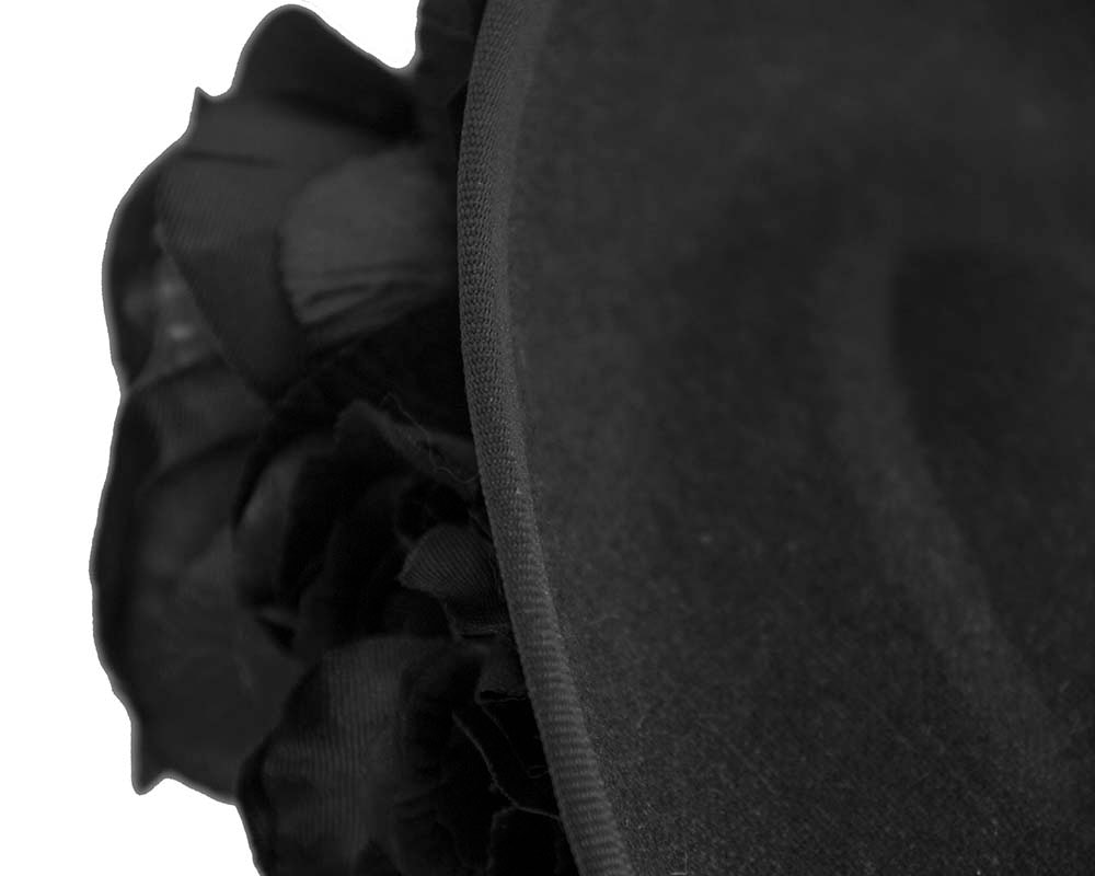 Large black plate with flowers winter racing fascinator