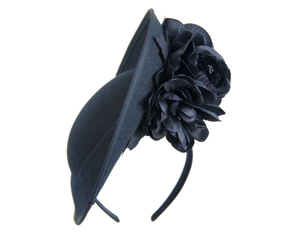 Large navy plate with flowers winter racing fascinator