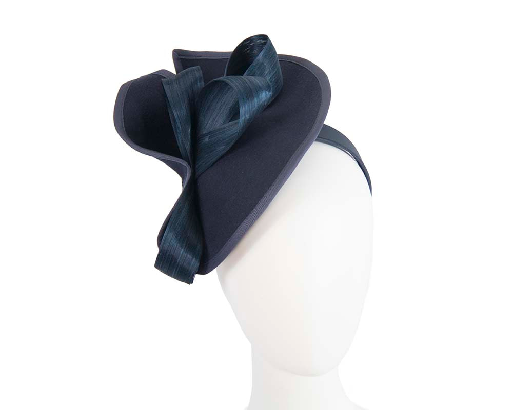 Twisted navy felt fascinator by Fillies Collection