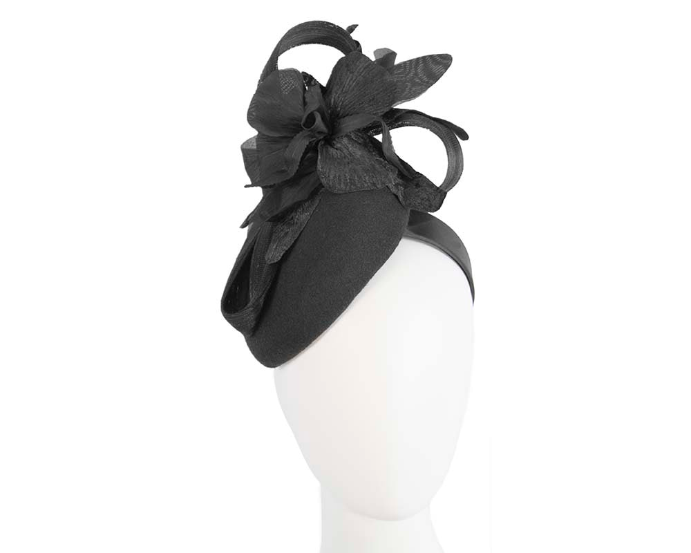 Tall black winter racing pillbox fascinator by Fillies Collection