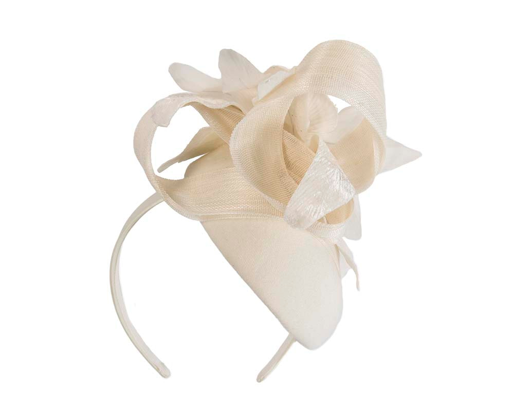 Tall cream winter racing pillbox fascinator by Fillies Collection