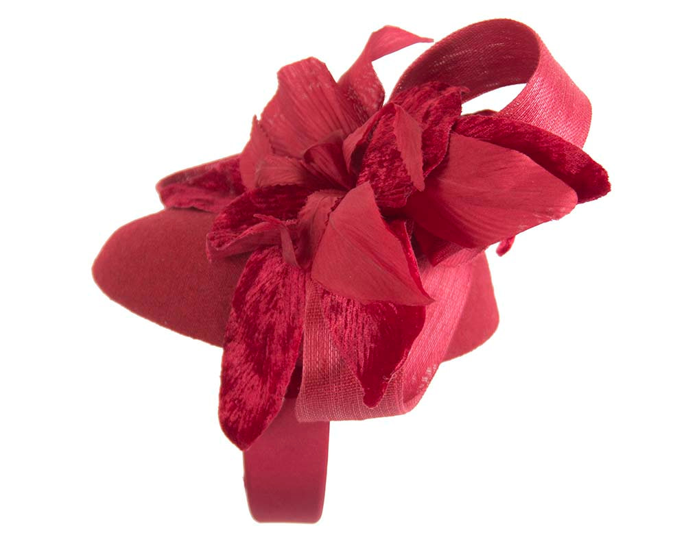Tall red winter racing pillbox fascinator by Fillies Collection