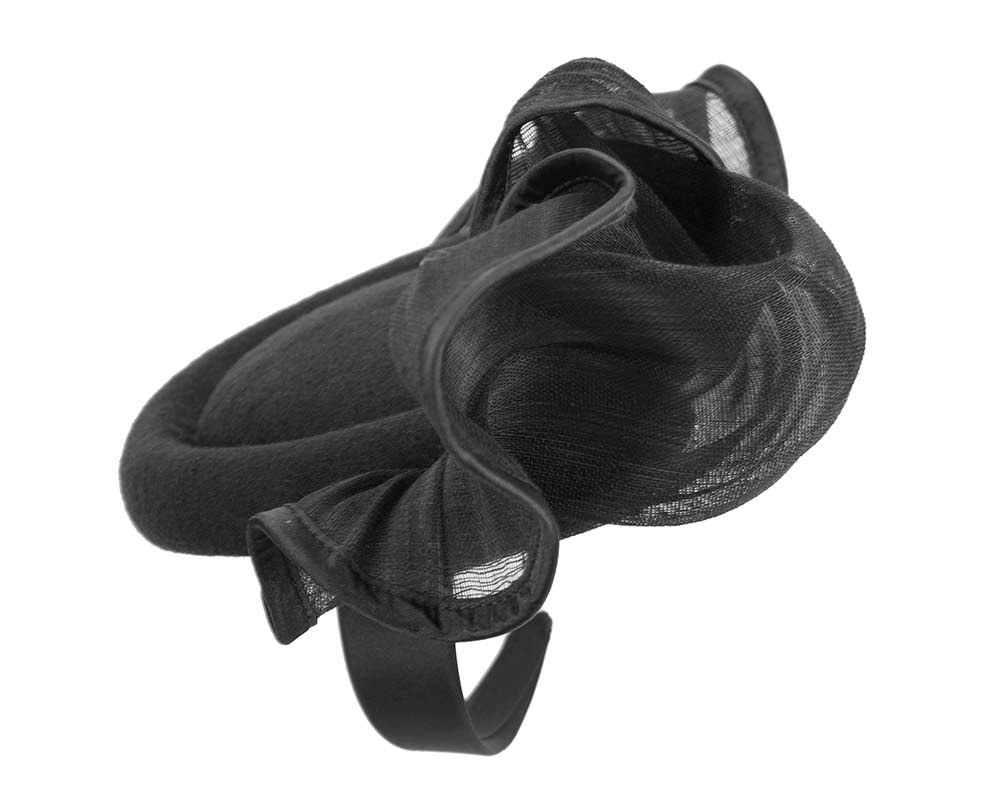 Bespoke black winter racing fascinator by Fillies Collection