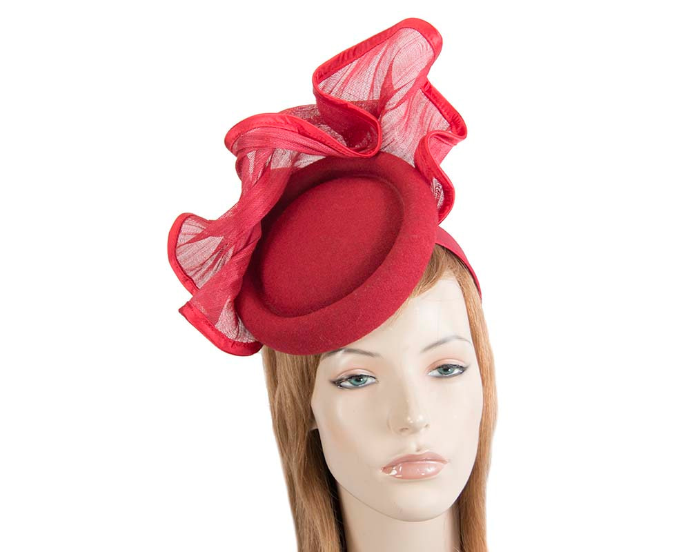 Bespoke red winter racing fascinator by Fillies Collection