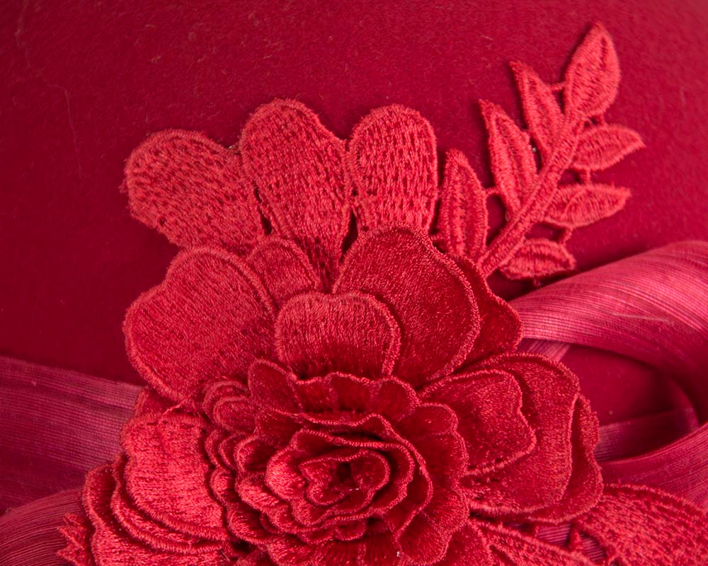 Red felt cloche hat with lace by Fillies Collection