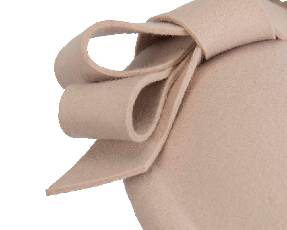 Nude felt winter fascinator hat by Fillies Collection