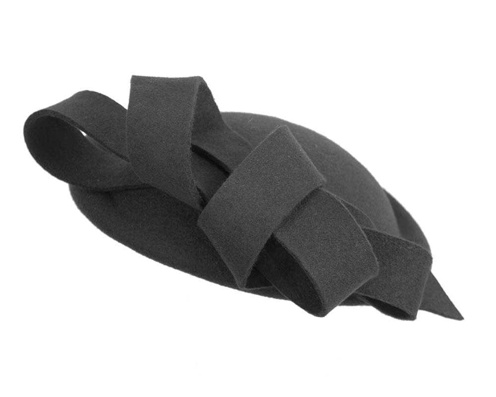 Black felt winter fascinator hat by Fillies Collection