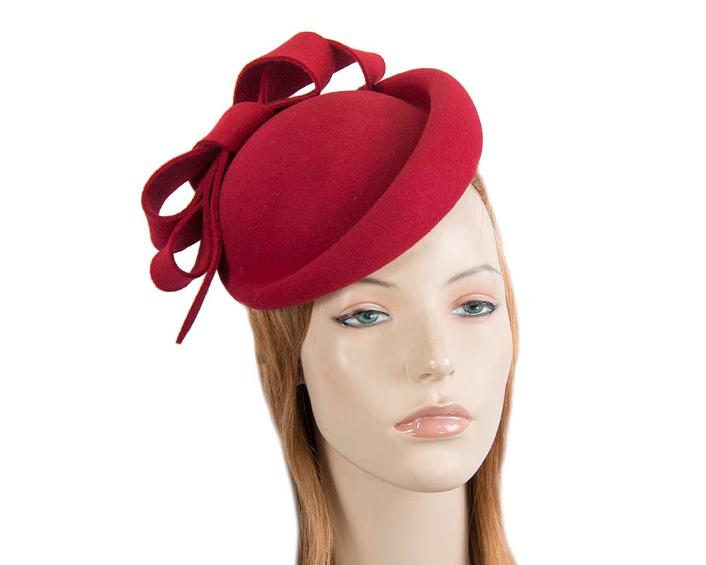 Red felt winter fascinator hat by Fillies Collection