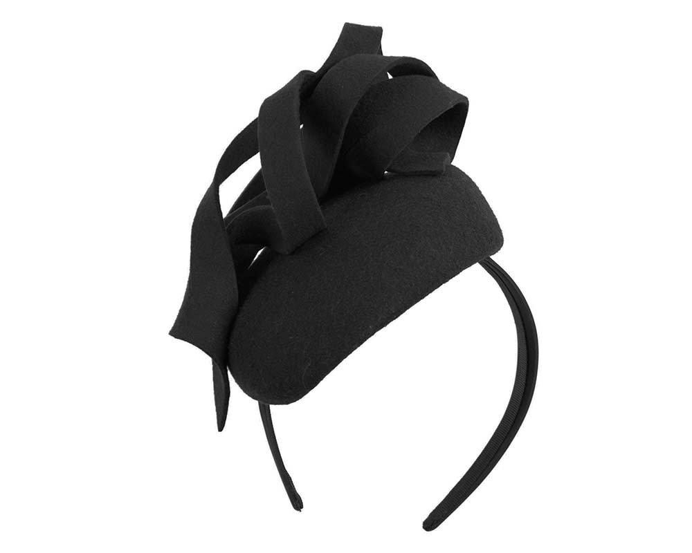 Black felt winter pillbox by Fillies Collection