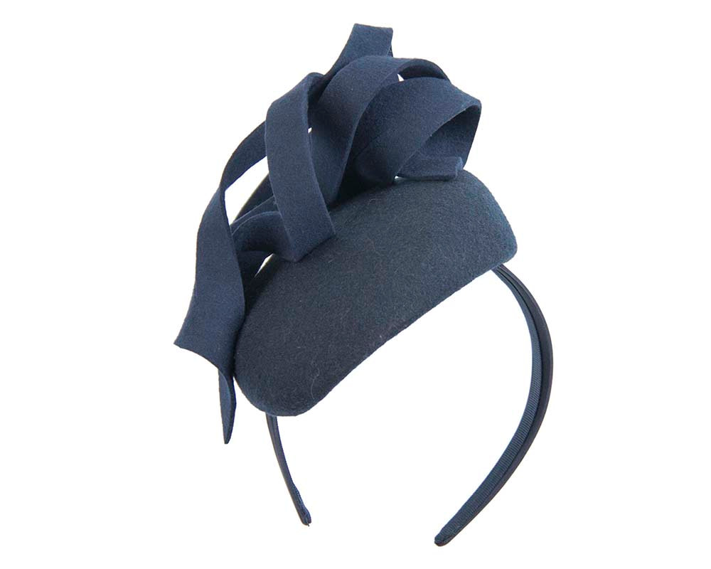 Navy felt winter pillbox by Fillies Collection