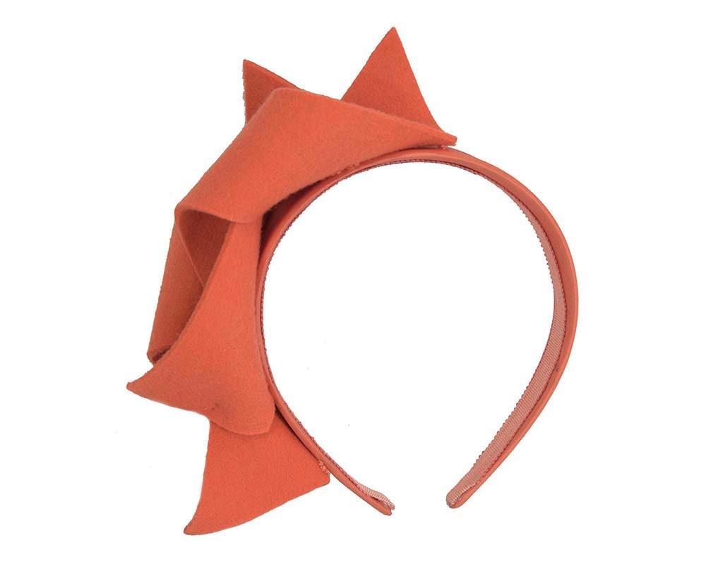 Burnt orange felt twisted fascinator headband by Max Alexander