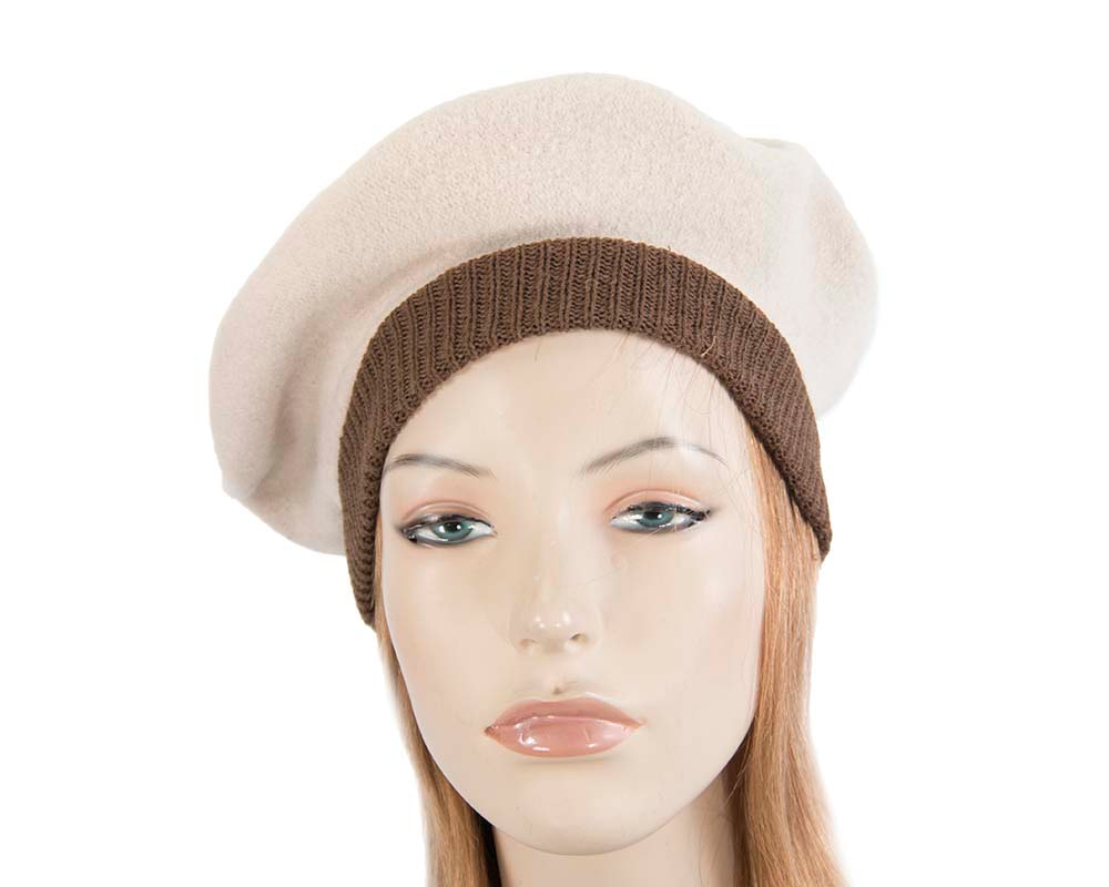 Nude embroidered winter beret by Max Alexander