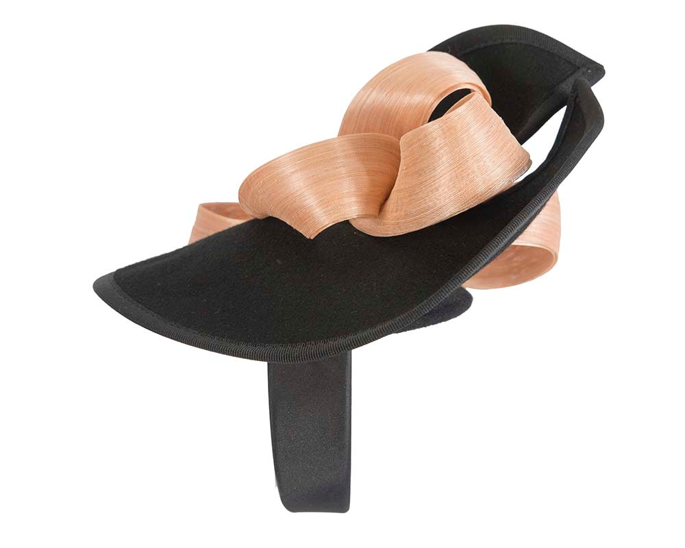 Twisted black & nude felt fascinator by Fillies Collection