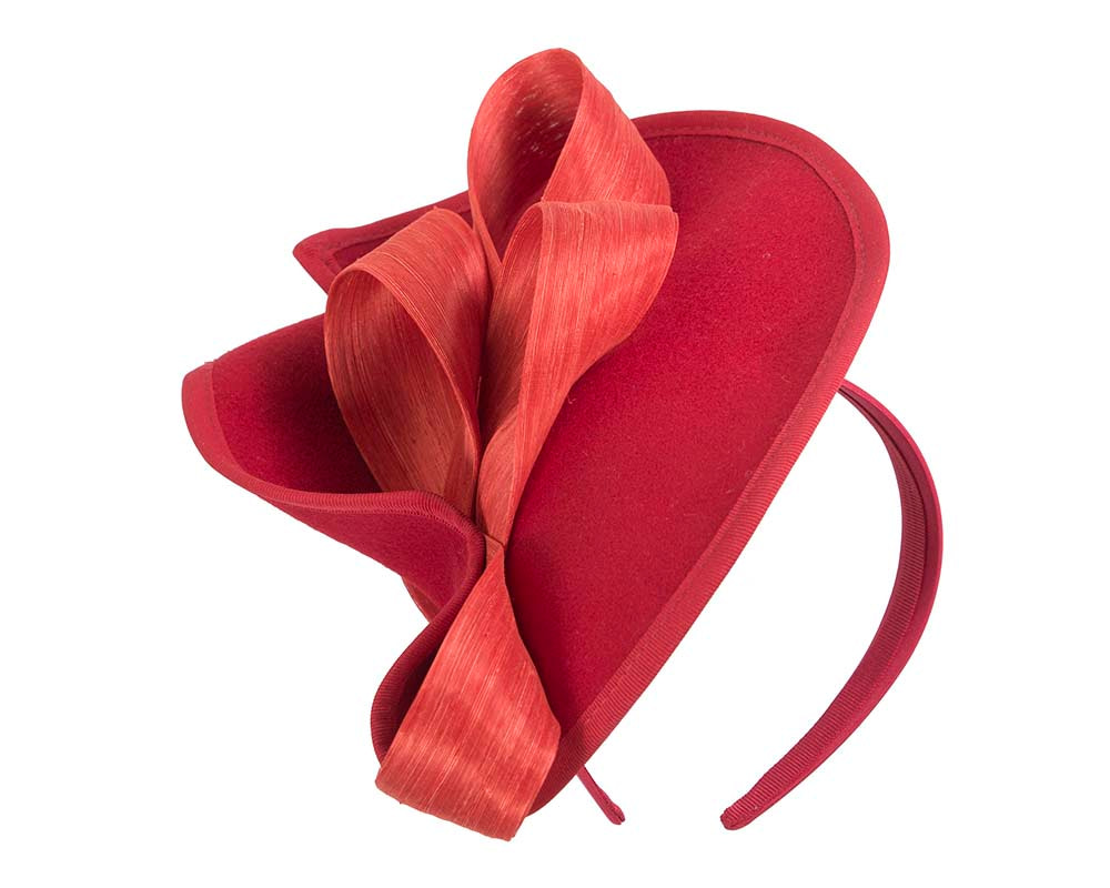 Twisted red & orange felt fascinator by Fillies Collection