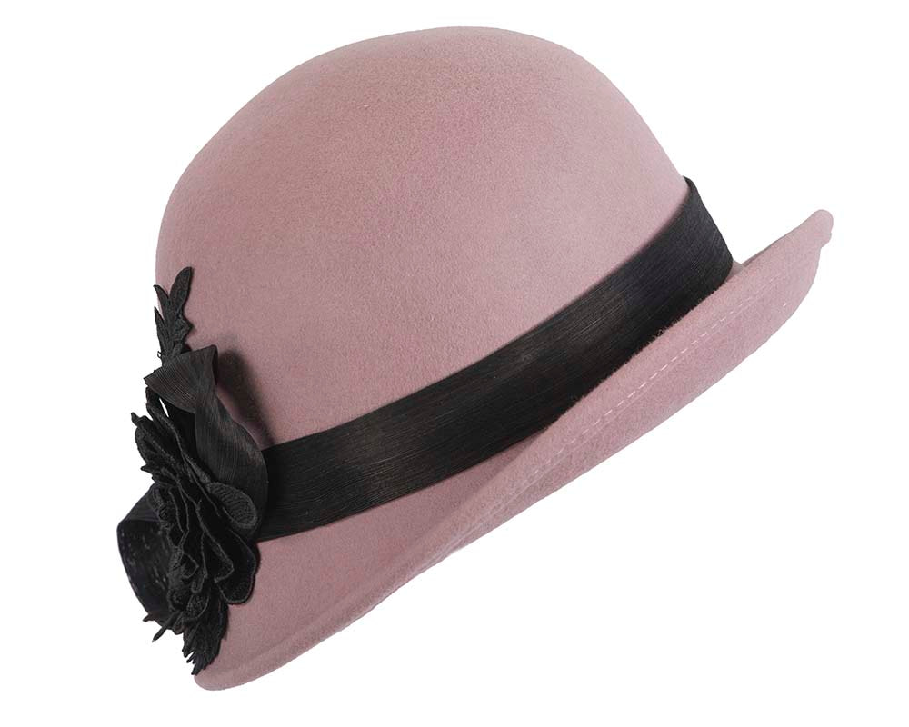 Dusty pink felt cloche hat with lace by Fillies Collection