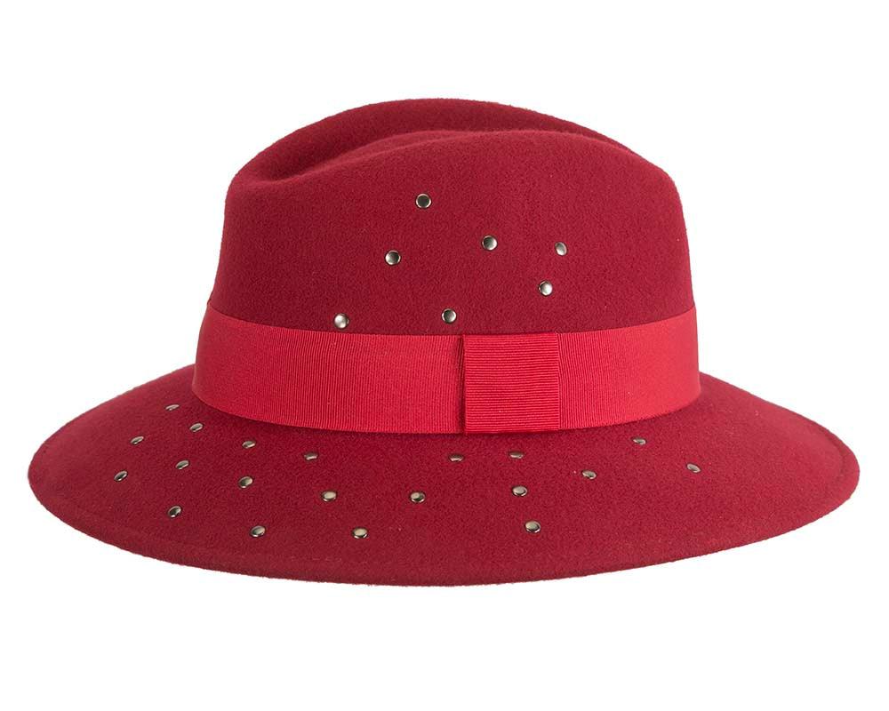 Exclusive wide brim dark red fedora felt hat by Max Alexander