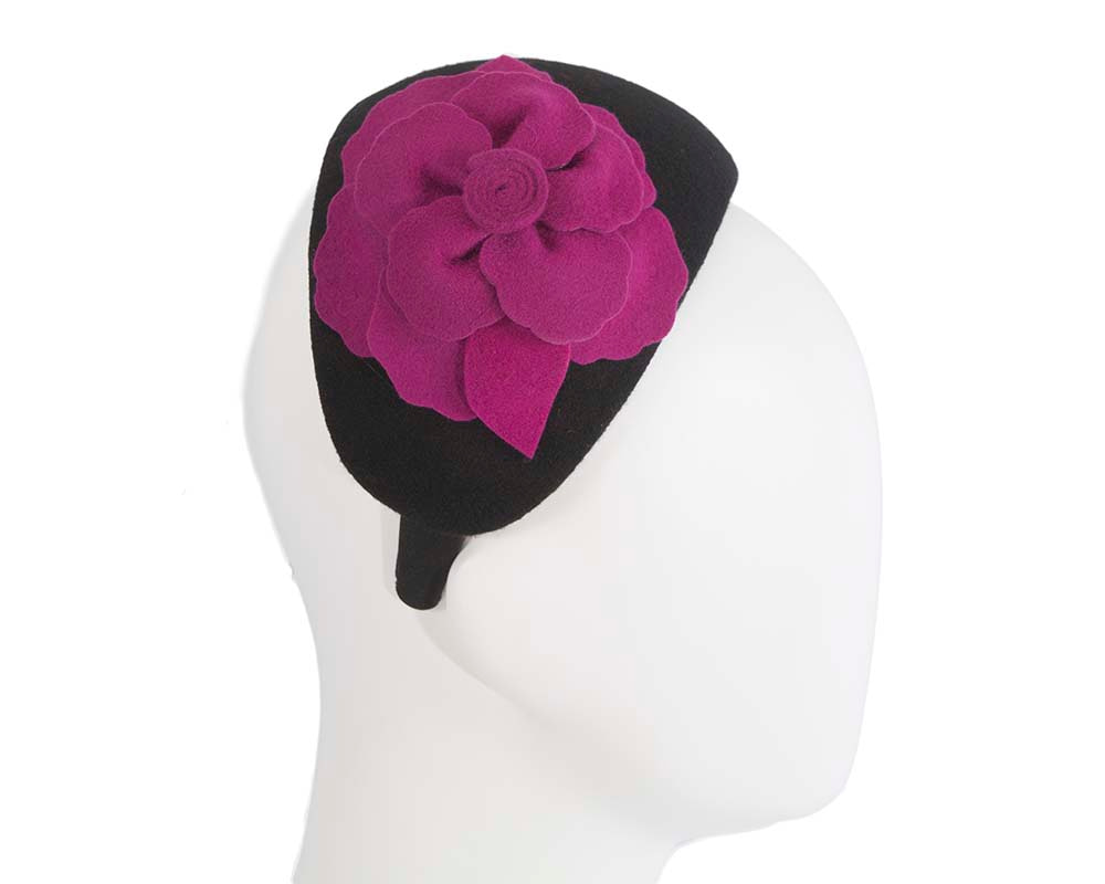 Wide black & fuchsia winter headband with flower by Max Alexander