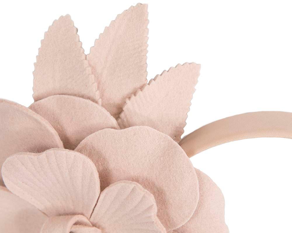 Beige felt flower fascinator by Max Alexander