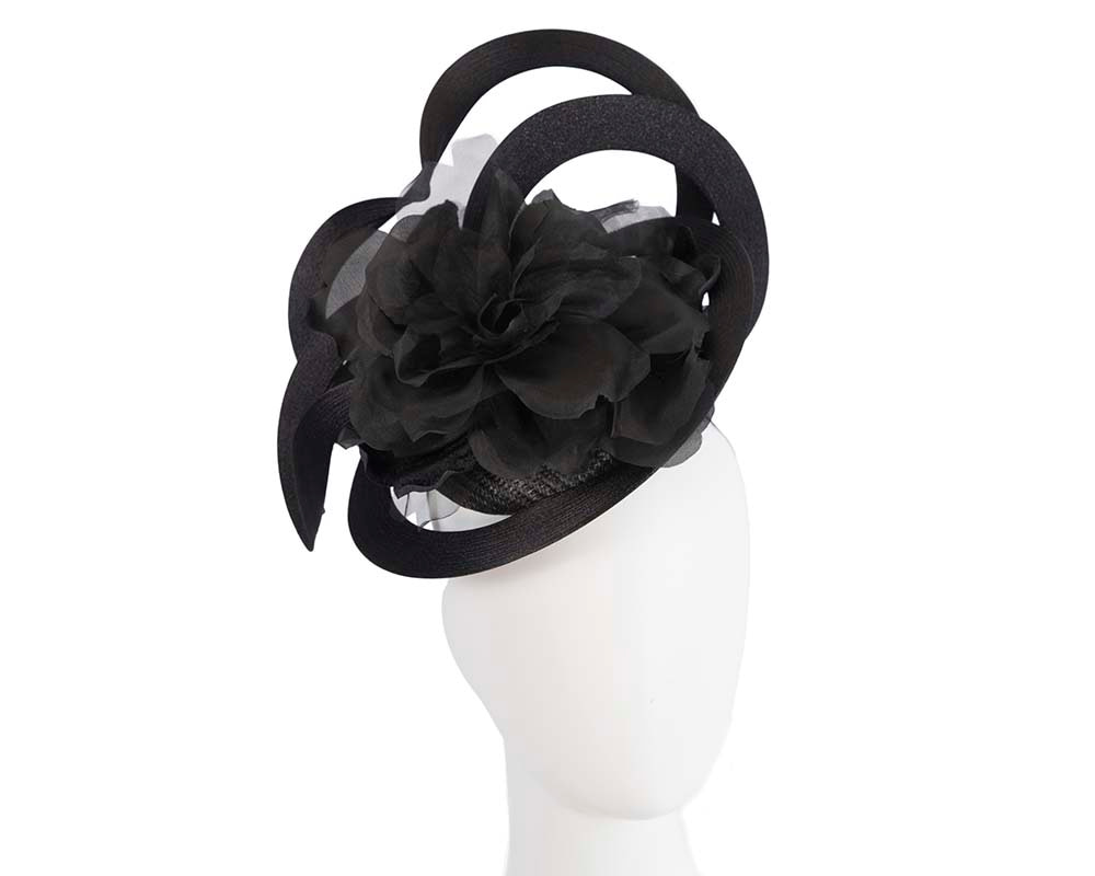 Unusual black Fillies Collection fascinator with flower for Melbourne Cup