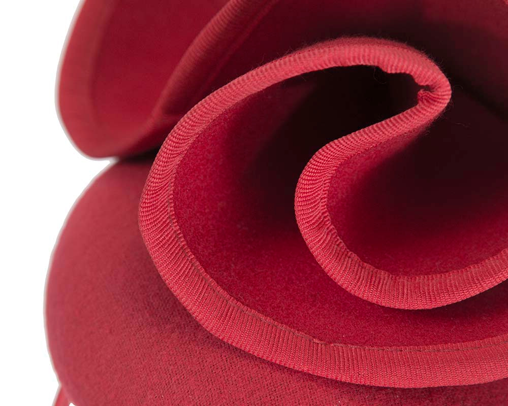 Red felt winter racing pillbox fascinator by Fillies Collection