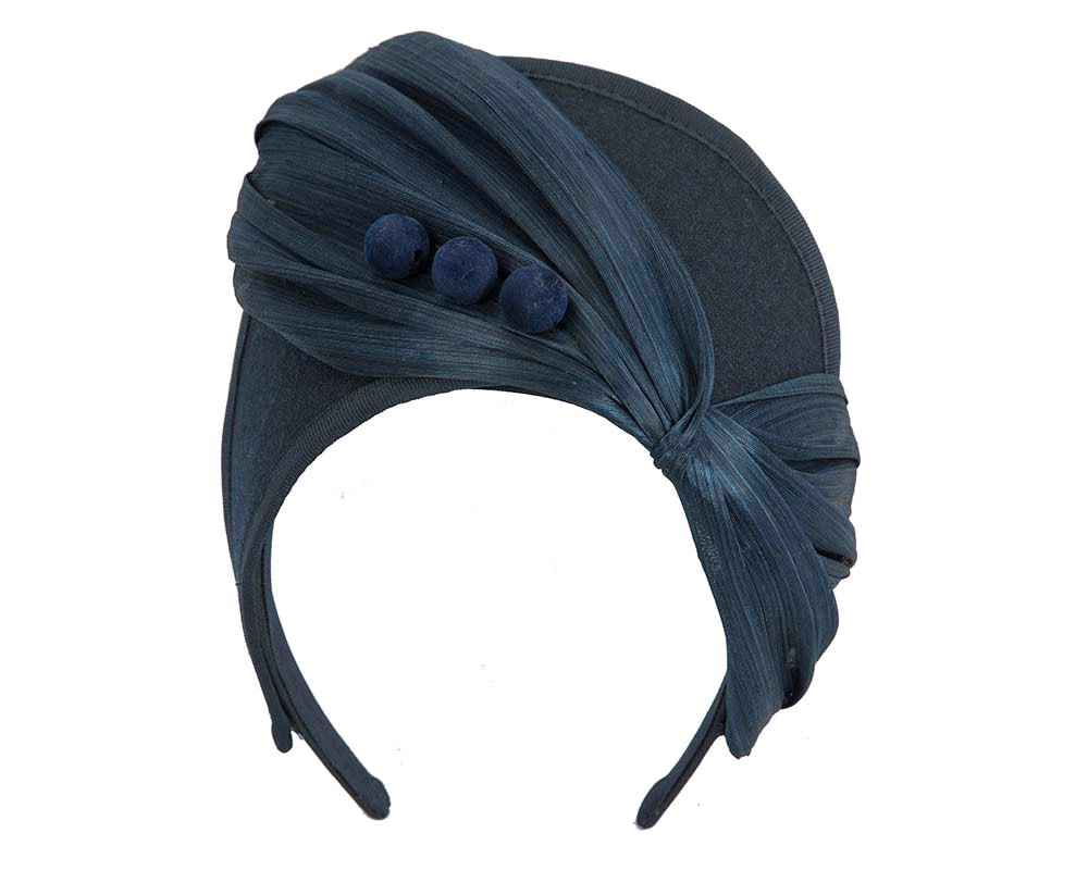 Navy crown winter fascinator by Fillies Collection