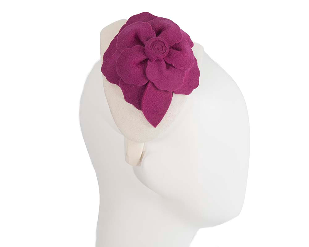 Wide cream & fuchsia winter headband with flower by Max Alexander