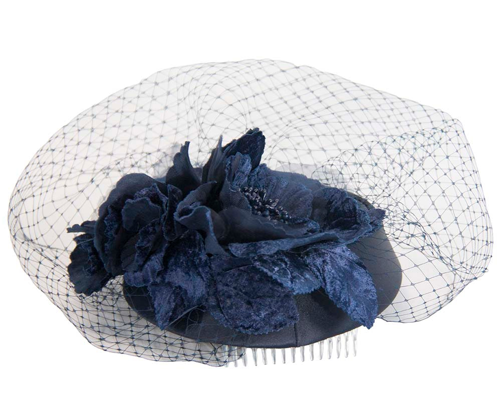 Custom made navy pillbox hat with flowers & face veiling