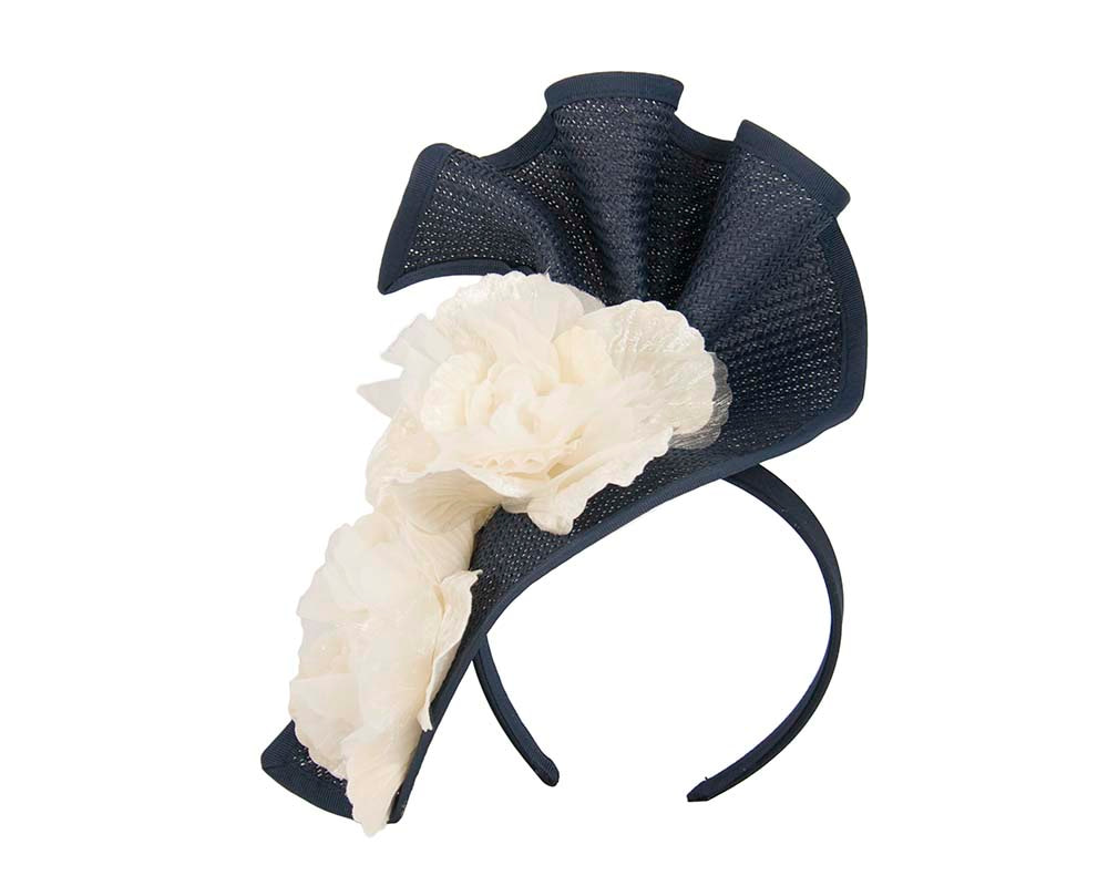 Navy cream Melbourne Cup races fascinator by Fillies Collection