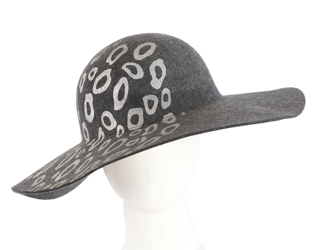 Wide brim charcoal winter cloche hat by Cupids Millinery Melbourne