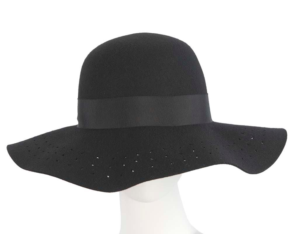 Wide brim black winter cloche hat by Cupids Millinery Melbourne