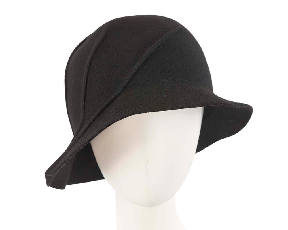 Black winter fashion bucket hat by Cupids Millinery