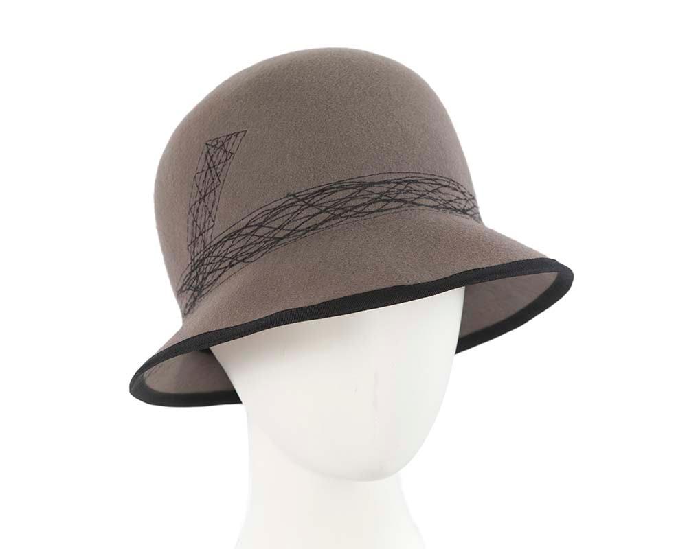 Grey ladies winter bucket hat by Cupids Millinery