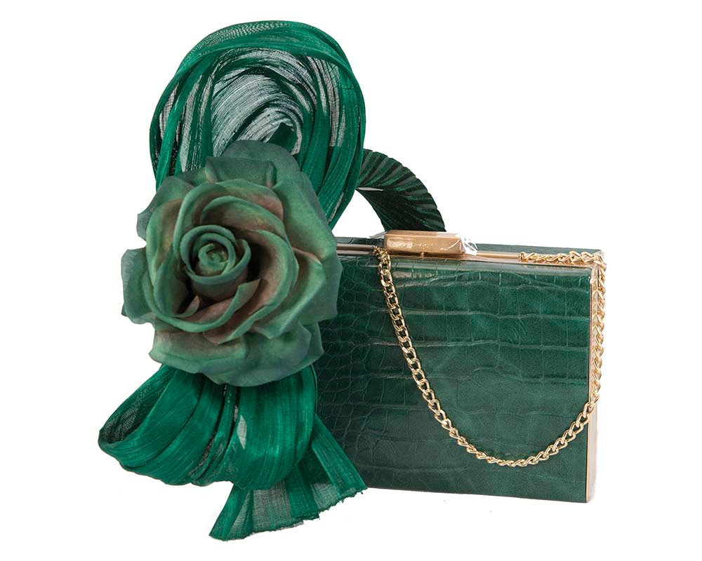 Green bow fascinator & bag combo by Cupids Millinery Melbourne