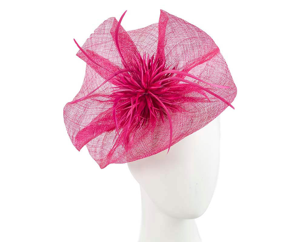 Fuchsia sinamay racing fascinator with feather flower by Max Alexander