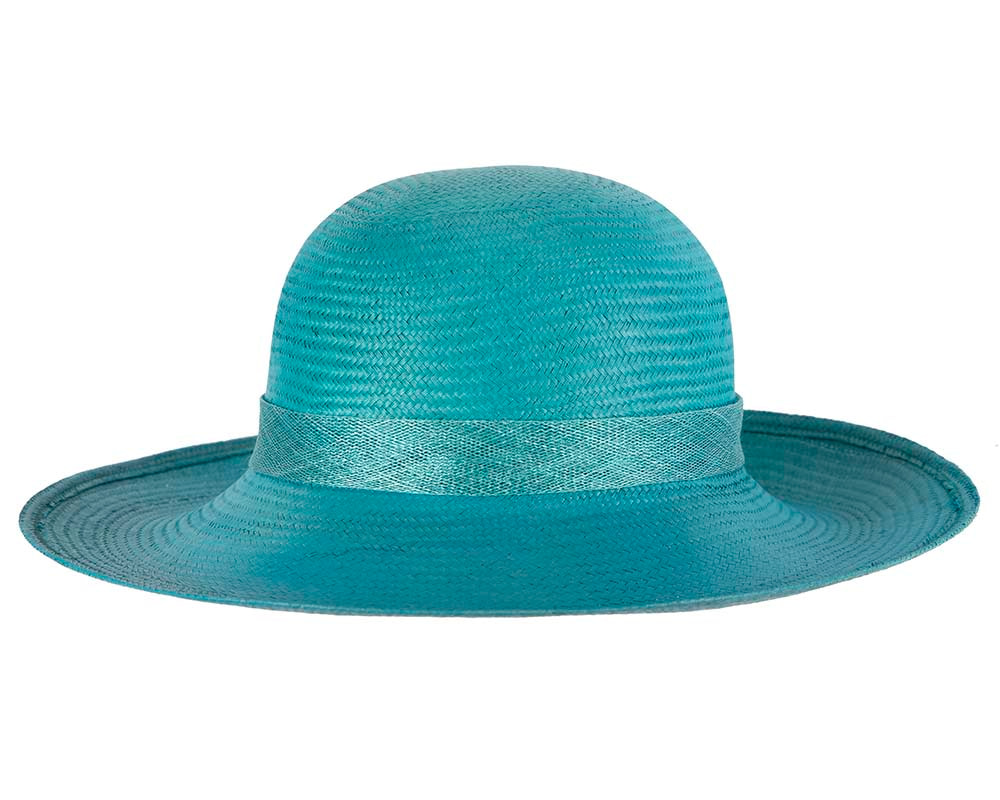 Large Turquoise Fashion Racing Hat by Cupids Millinery
