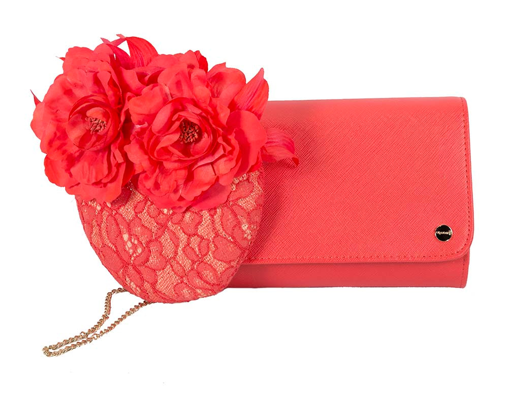 Bright coral pillbox & bag combo by Cupids Millinery Melbourne