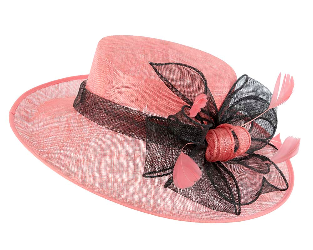 Large Pink & Black Ladies Fashion Racing Hat by Cupids Millinery