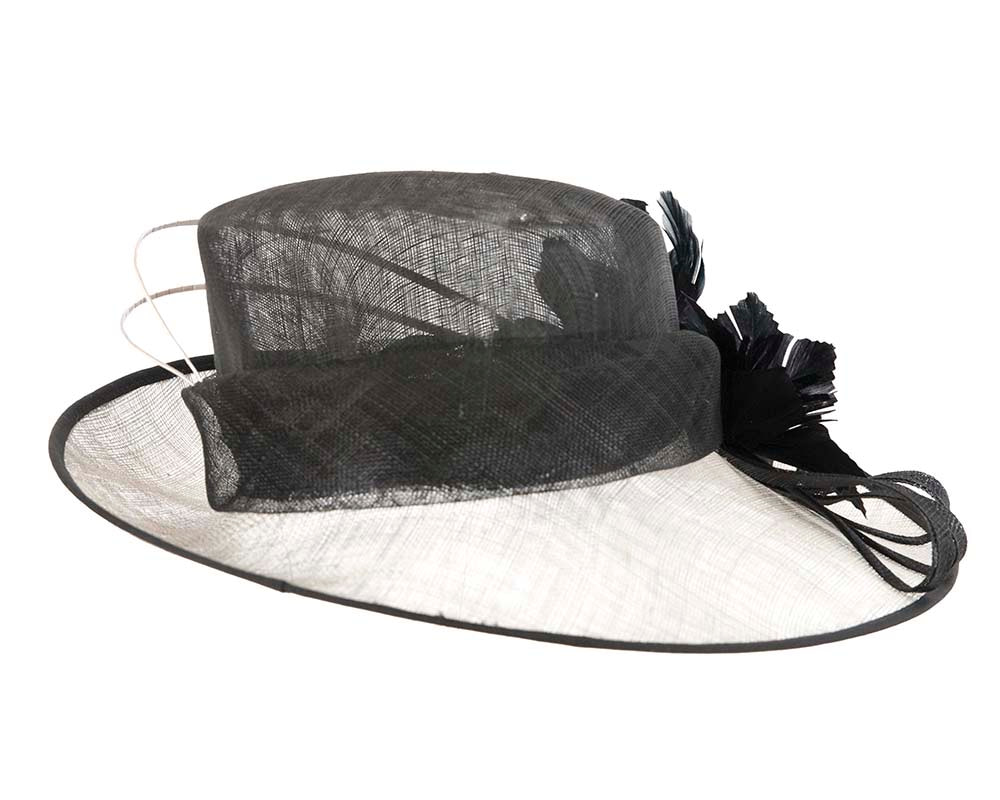 Large Silver & Black Ladies Fashion Racing Hat by Cupids Millinery