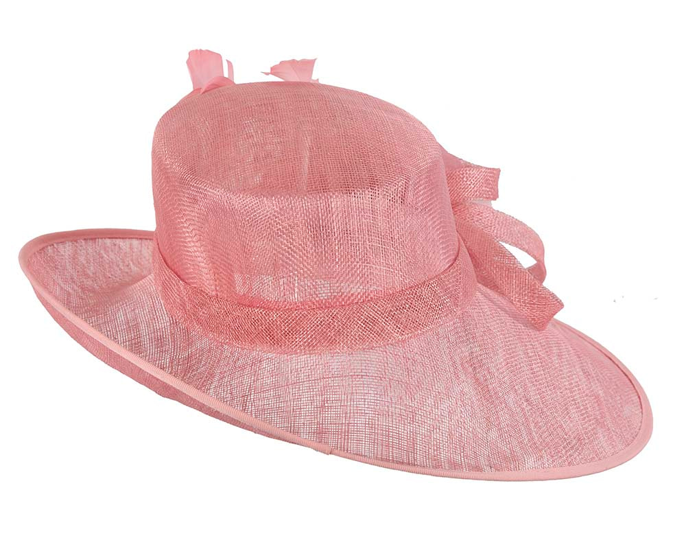 Large Pink Ladies Fashion Racing Hat by Cupids Millinery