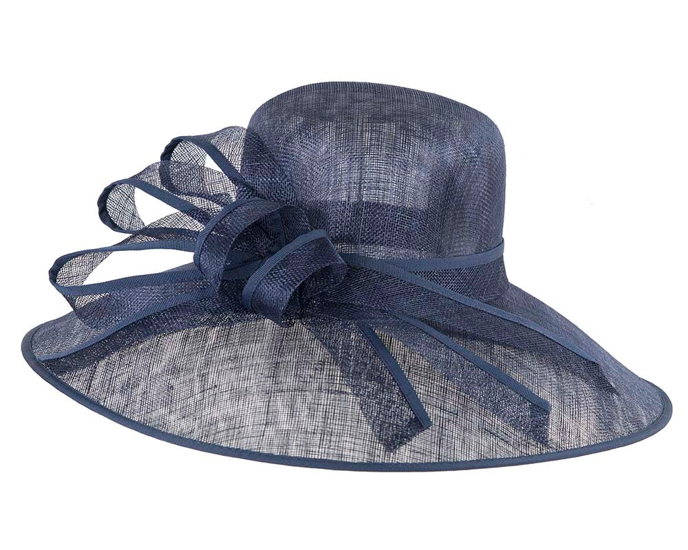 Large Navy Ladies Fashion Racing Hat by Cupids Millinery