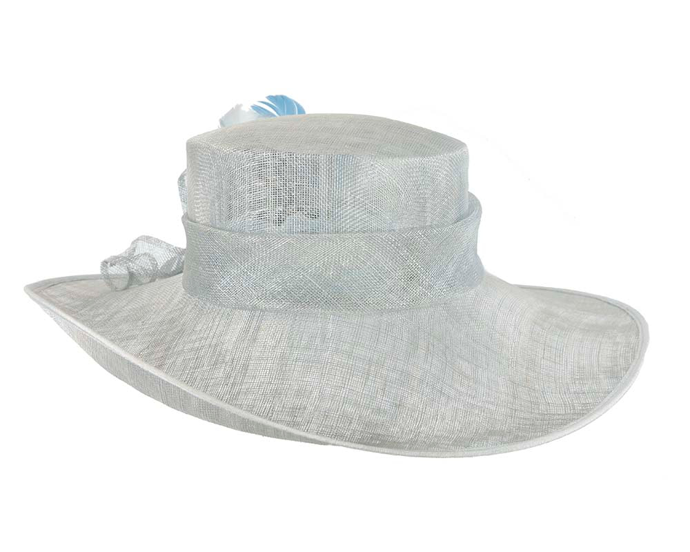 Large Light Blue Fashion Racing Hat by Cupids Millinery