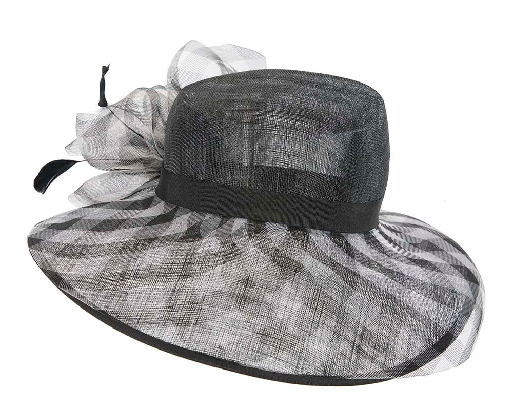 Large Black & Cream  Fashion Racing Hat by Cupids Millinery