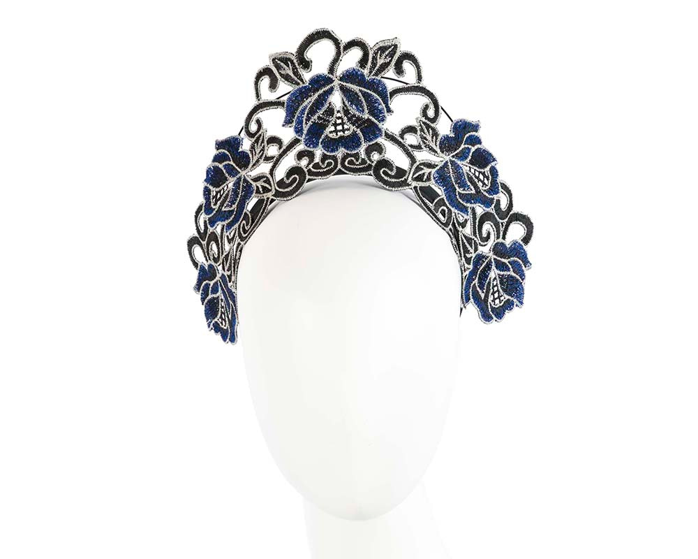 Exclusive Black & Blue Lace Crown Fascinator by Cupids Millinery