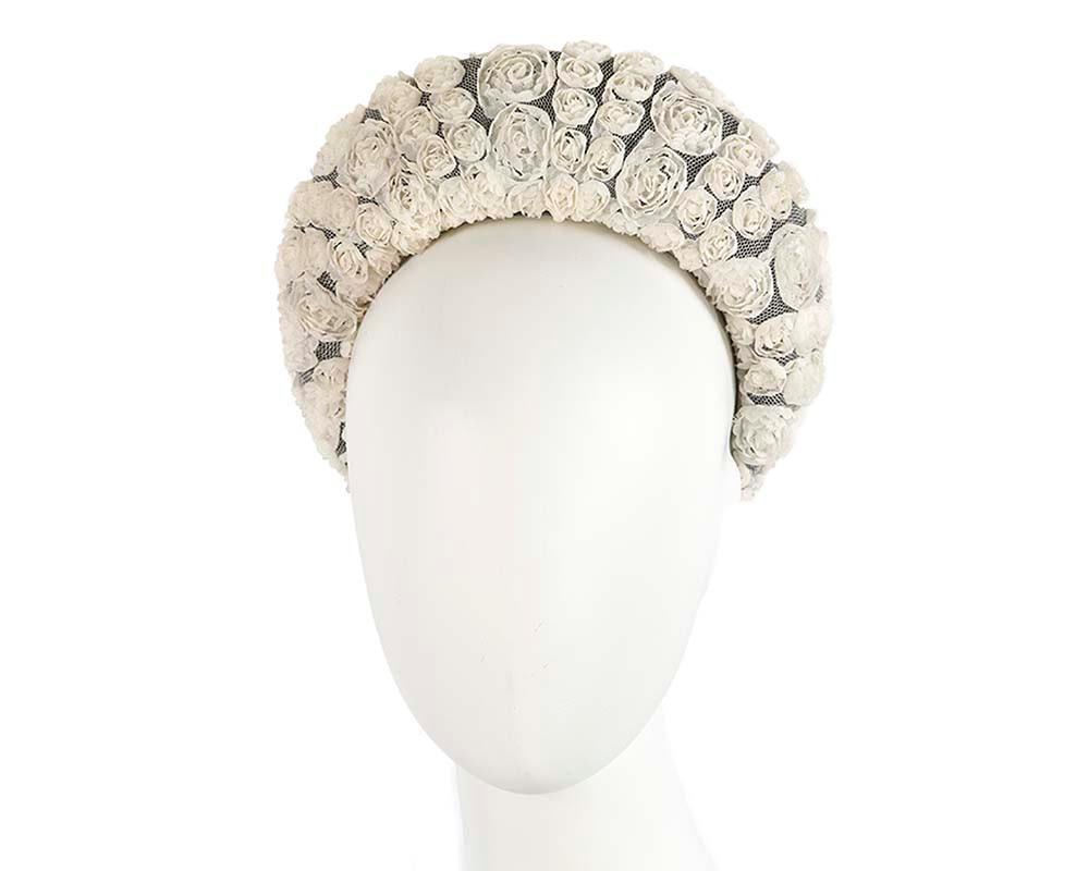 Bespoke cream headband racing fascinator by Cupids Millinery