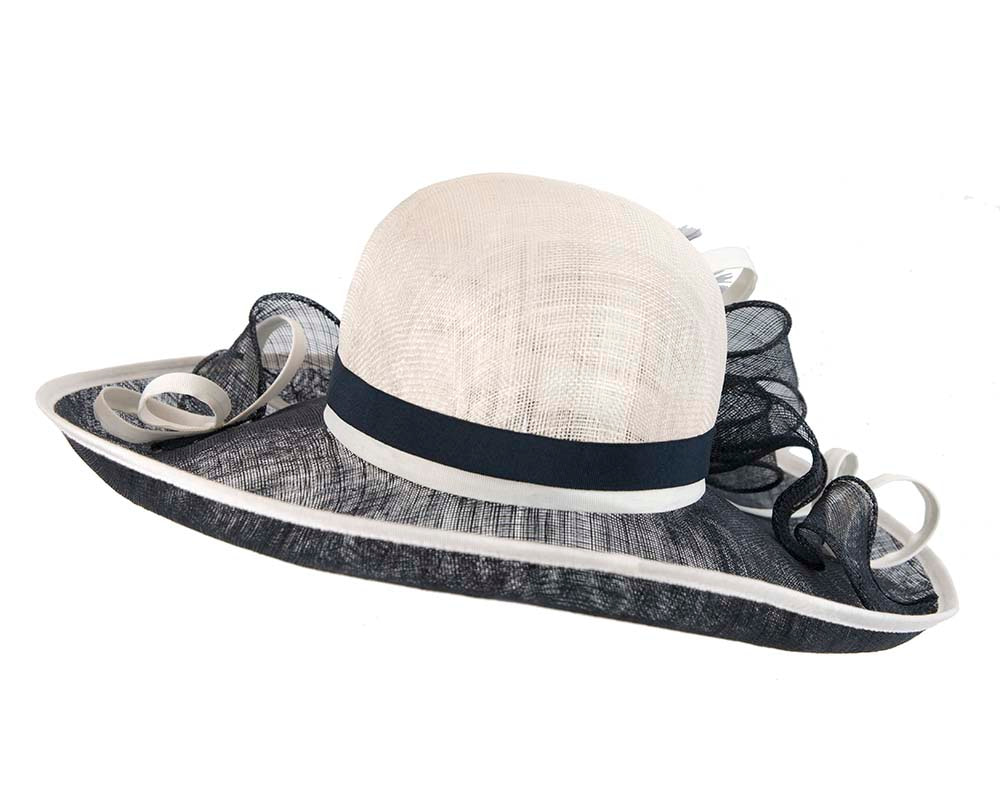 Large Navy & Cream Ladies Fashion Racing Hat by Cupids Millinery