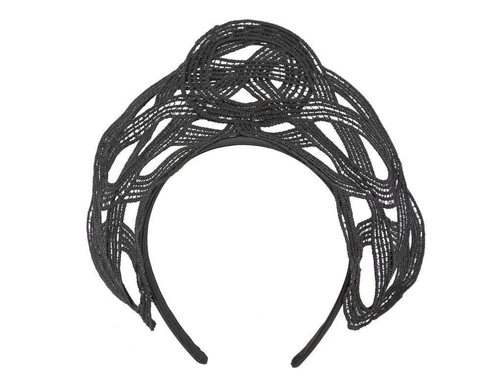 Bespoke Black Lace Crown Fascinator by Cupids Millinery