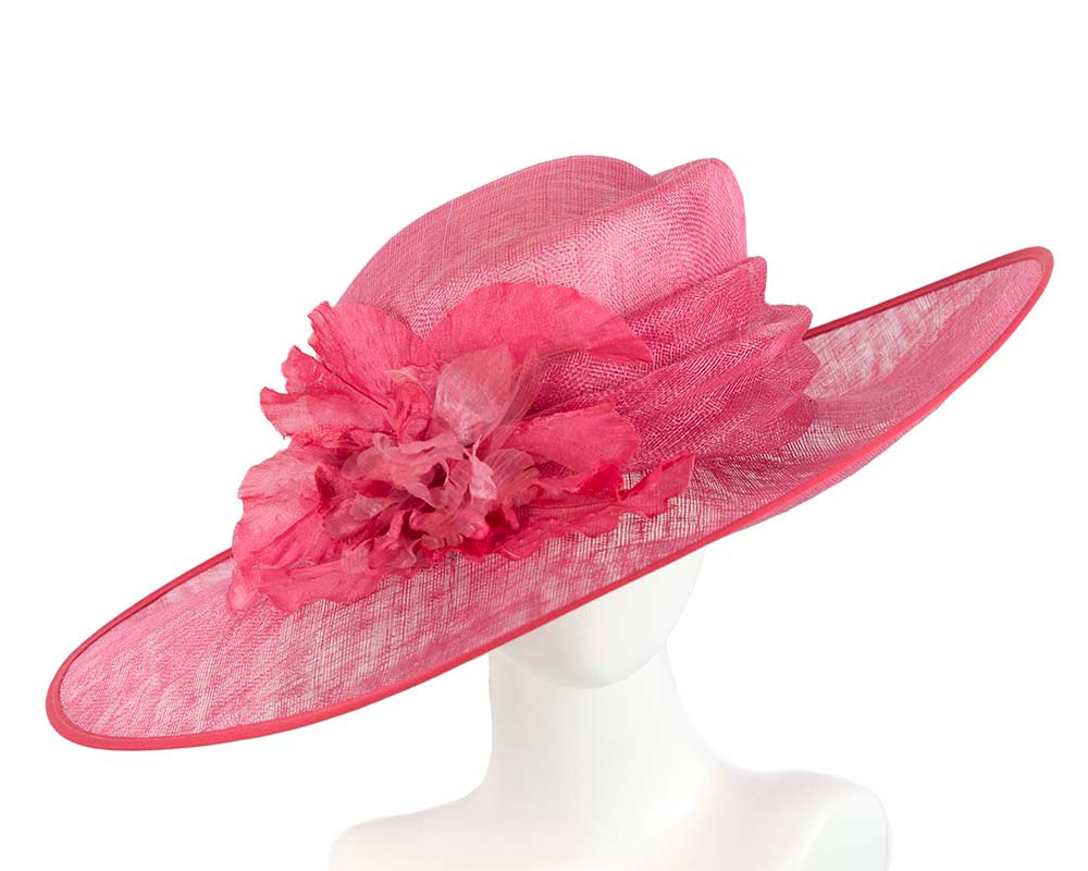 Large Raspberry Ladies Fashion Racing Hat by Cupids Millinery