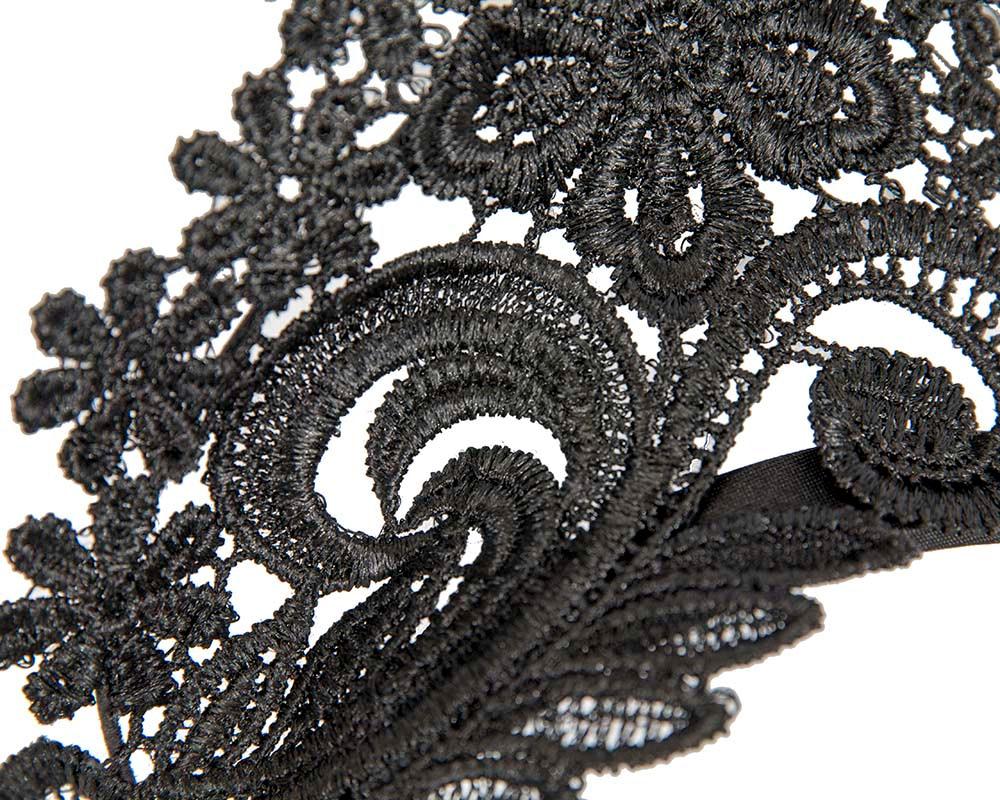 Black lace crown racing fascinator by Max Alexander