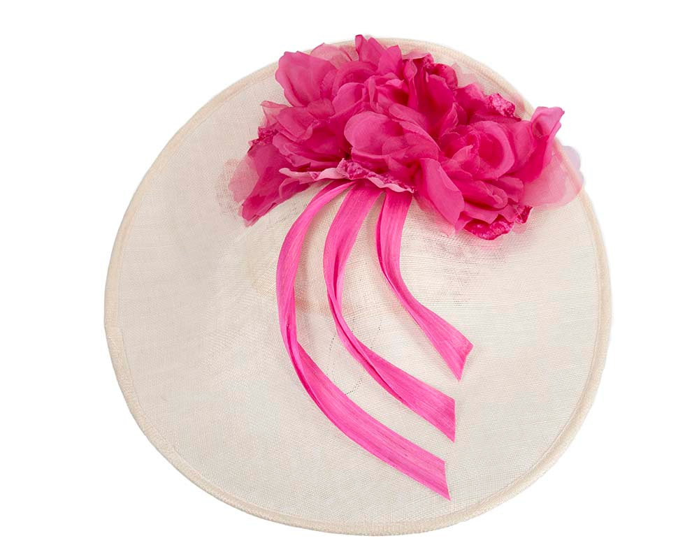 Large cream & fuchsia plate racing fascinator by Fillies Collection